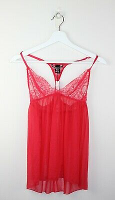 Victoria's Secret Size XS 6 Red Lace Unlined Sheer Slip