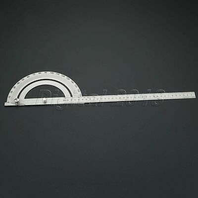Stainless Steel Protractor 180 degree Rotary Round Head Hollow Angle Ruler 350mm