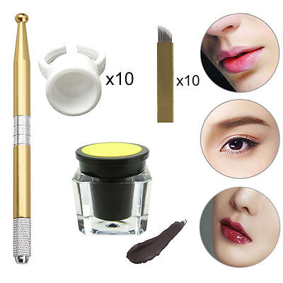 One Set Microblading Permanent 3D Makeup Eyebrow Tattoo Needle Pen Pigment Kit