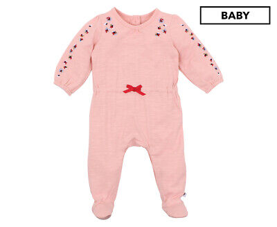 Fox & Finch Baby Fleur Embroidered Romper - Dusty Pink