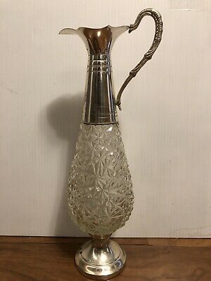 Vintage F.lli Beccaro-Acqui Crystal & Silver Plate Claret Pitcher Decanter,Italy