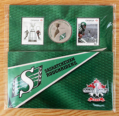 2012 Saskatchewan Roughriders Grey Cup Canada Commemorative Quarter & Two Stamps