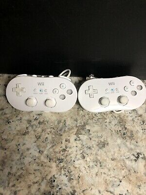 Nintendo wii controller pro white  RVL-005 2 qty TWO TESTED Genuine Authentic