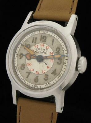 AWESOME WW2 Vintage GALLET SOLAR BIRKDALE Canadian Military Watch F BORGEL Case!