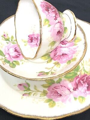 Vtg Royal Albert American Beauty Trio Teacup Saucer & Plate Pink Cabbage Roses