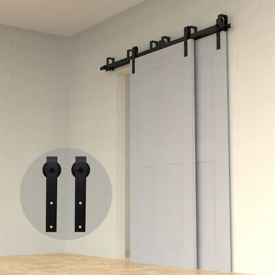 4FT-20FT Sliding Barn Door Hardware Single/Double/Bypass 2 Doors Colset Rail Kit