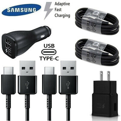 OEM Galaxy S10 S9 S8 Plus Fast OEM TypeC Cable Cord + Wall & Car Charger Lot