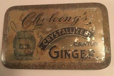 Vintage Cheloong's Crystallized Canton Ginger Tin EDWARD BENNECHE & BRO. NY