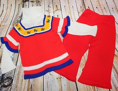 Vtg 70s Montgomery Ward Girl Knit Sweater Bell Bottom Flare Pant Set Outfit 2 2T