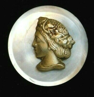 Antique Vintage Victorian BUTTON Brass Lady Head on Pearl Shell M1