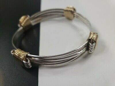 Vintage Sterling Silver Hand Made Copper Accents Adjustable Bracelet sz L XL 43g