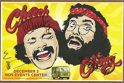 Cheech & Chong autographed live show gig poster Tommy Chong and Cheech Marin