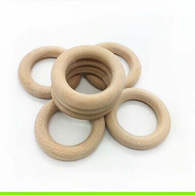 10pcs Rings Versatile Round Beech Wooden Smooth Natural Unfinished Rings for DIY
