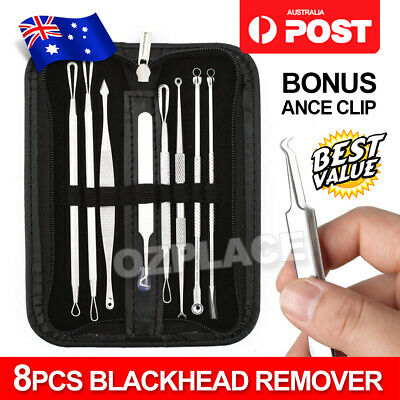 7Pcs Blackhead Remover Comedone Blemish Pimple Extractor Tool Kit Acne Clip NEW