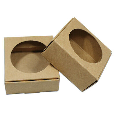 Brown Kraft Paper Round Hollow Out Packaging Boxes For Craft Gift Candy DIY Soap