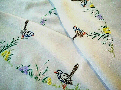 RARE Vintage Hand embriodered Tablecloth ~ Australian Blue Fairy Wrens & Flora