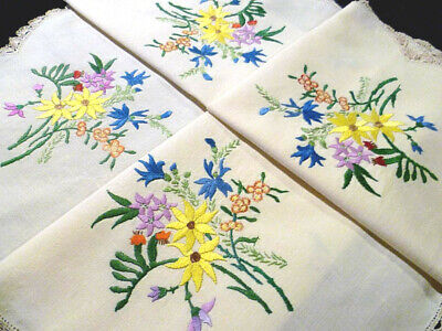 """Unique Heavily Hand Embroidered Wild Flowers of Australia ~Tablecloth 34"""" x 35"""""""
