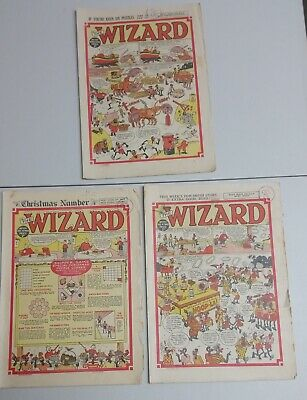 The Wizard - 3 issues from 1948 : #1193, 1194 & 1196 old English paper comics
