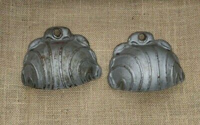2 Ornate Antique & Rare Cast Iron Light Cover Sconce Switch Combo