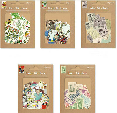 30 Pcs Stamp Stickers Vintage Style DIY Scrapbooking Diary Junk Journal Craft