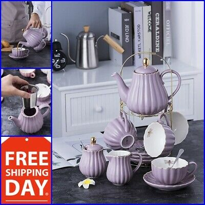 Vintage Tea Set Coffee Saucers Porcelain Tea Cup Set 17 Pc High Quality Purple