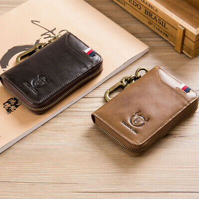 Genuine Leather Car Key Case Card Holder Keychain Purse Wallet Pouch Clip Bag