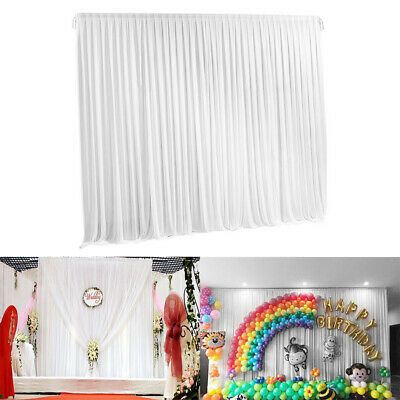 3x3M White Silk Wedding Party Stage Photography Backdrop Curtains Drape Decor AU