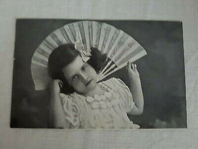 Vintage Collectible Postcard 1920s real photo unused young girl and fan