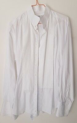 "Mens VINTAGE White Shirt Sz 40"" Chest 15.5 Collar Pintuck Smart Event ST MICHAEL"