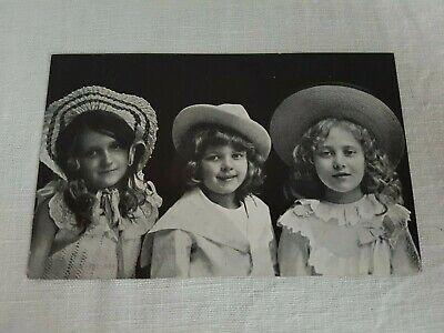 Vintage Collectible Postcard 1920s real photo unused three girls posing