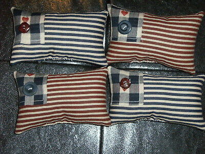 PRIMITIVE SUMMER FLAGS 4th of July ORNIES BOWL FILLERS DECOR~Set of 4~SO CUTE!