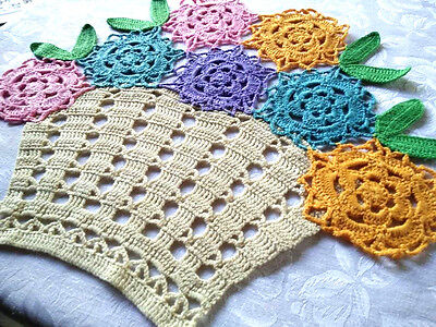 Colourful Flower Basket-Vintage Hand crochet Centrepiece- 2 available