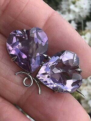 Antique Victorian /Edwardian Sterling Silver Amethyst Twin Heart Brooch /Pin