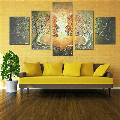 5PCS Panels Modern Abstract Love Lady Tree Canvas Painting Prints Wall Art Decor