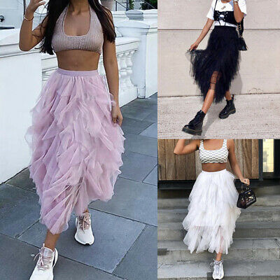 Sexy Women Lady Fashion Waist High Low Sheer Mesh Tutu Tulle Evening Party Skirt