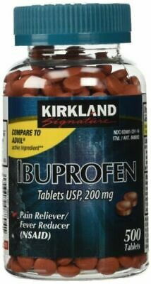 Kirkland Signature Ibuprofen USP 200mg NSAID 500 Tablets Pain/Fever Relief