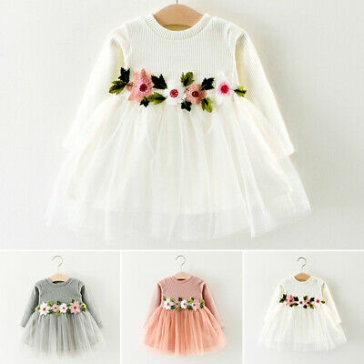 Flower Dress Baby Sleeve Floral Kids Tulle Party Mini Long Round Toddler Neck