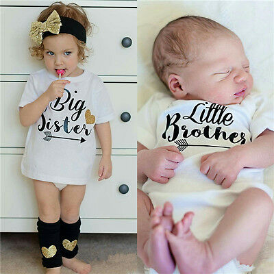 Cute Toddler Kid Baby Big Sister Little Brother Romper Bodysuit T-shirt Clothes
