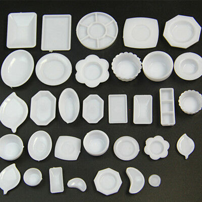 33 Pcs Dollhouse Miniature Tableware Plastic Plate Dishes Set Mini Food EO