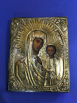 Antique Hand painted Icon Virgin of the Kazan 19 th. century