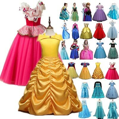 Girl Kids Clothing Princess Belle Cinderella Costume Party Dress Up Fairytales