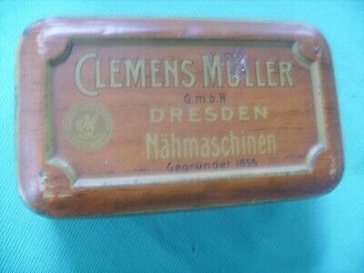 """ANTIQUE""""CLEMENS MULLER""""Sewing Machine Accessories Metal Box ,Very RARE & OLD"""
