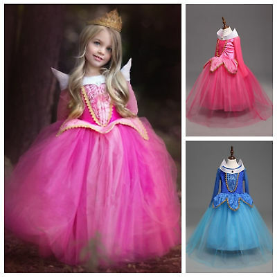 Kids Girl Sleeping Beauty Aurora Princess Fancy Dress Gown Cosplay Costume 3-8 Y