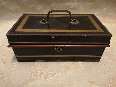 Large Vintage Cash Money Box With Lock - 1940's