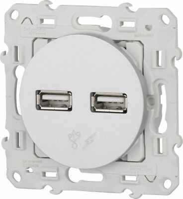 Schneider Electric SC5SHN0312414 Prise Double USB Odace, Blanc