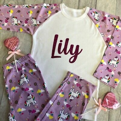 PERSONALISED Custom UNICORN PRINT PYJAMAS Gift Girls Sleepwear Keepsake PJs