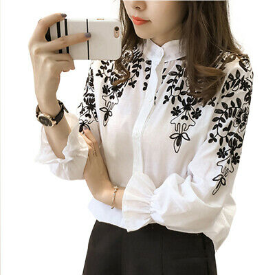 Fashion Women's Long Sleeve Embroidery Blouse T-Shirt Tops Holiday Summer Shirts