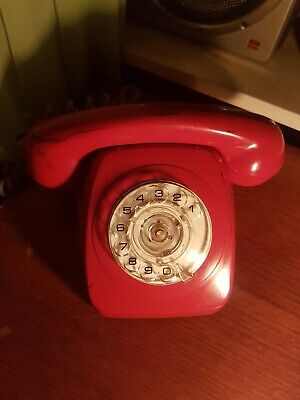 Vintage Red Rotary Dial 802 Telephone In Great Condition Tested & Working