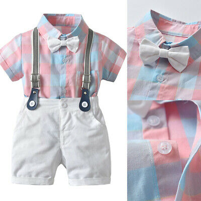 Toddler Kids Baby Boy Gentleman Outfit Clothes Grid T-shirt Top+Shorts 2pcs Set