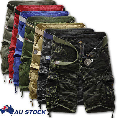 Mens Camo Army Combat Cargo Short Pants Trousers Work Pocket Belt Cotton Bottoms